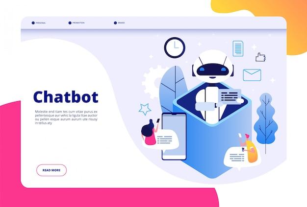 Conceito de chatbot. bate-papo com android homem mulher falando com telefone celular para ai aplicativo bots ajuda página de tecnologia do futuro humano