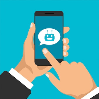 Conceito de chatbot. conversando entre robô e humano. smartphone com avatar de robô. design moderno de bolhas de mensagens e caixas de diálogo.