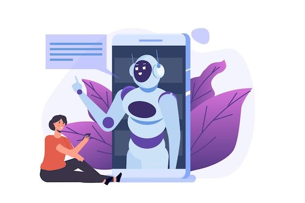 Conceito de chatbot. homem falando com o robô. diálogo de inteligência artificial do serviço de suporte ao cliente.