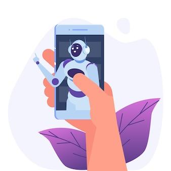 Conceito de chatbot. homem falando com o robô. serviço de apoio ao cliente android, diálogo de inteligência artificial.