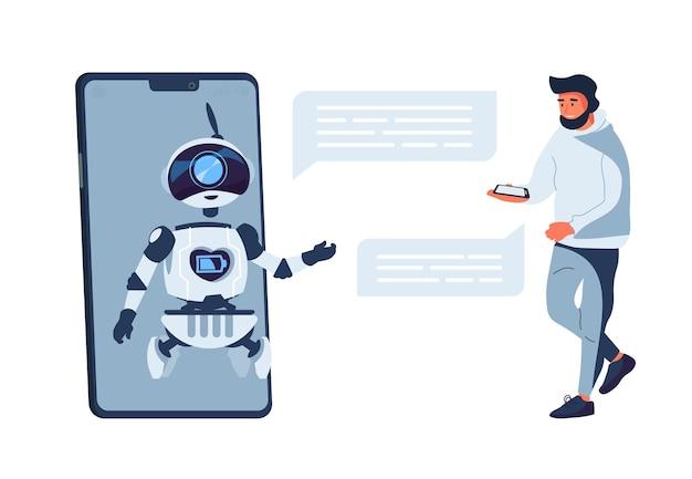 Conceito de chatbot. suporte ao cliente do bot de bate-papo, inteligência artificial. ilustração em vetor plana