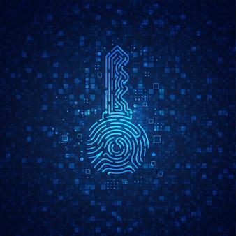 Conceito de chave privada em plano de tecnologia de criptomoeda