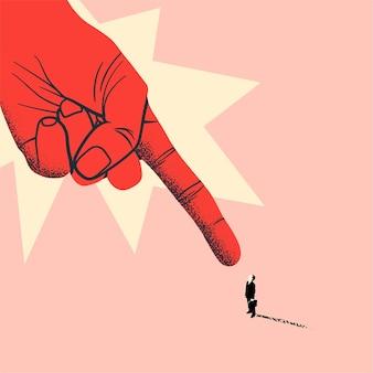 Conceito de chefe e funcionário ou chefe zangado com uma mão gigante de chefe vermelho apontando o dedo para o conceito de redução ou demissão de funcionário de funcionário
