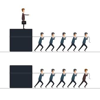 Conceito de chefe vs líder. ilustração em design plano.