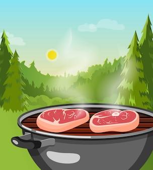 Conceito de churrasco ao ar livre
