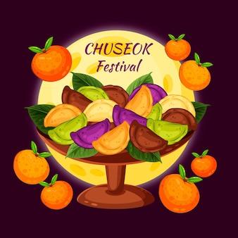 Conceito de chuseok em design plano