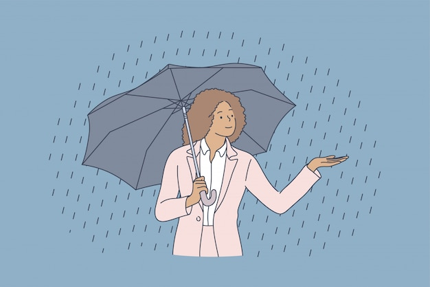 Conceito de chuva de água de segurança climática empresarial