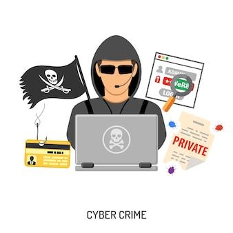 Conceito de cibercrime com hacker e engenharia social.