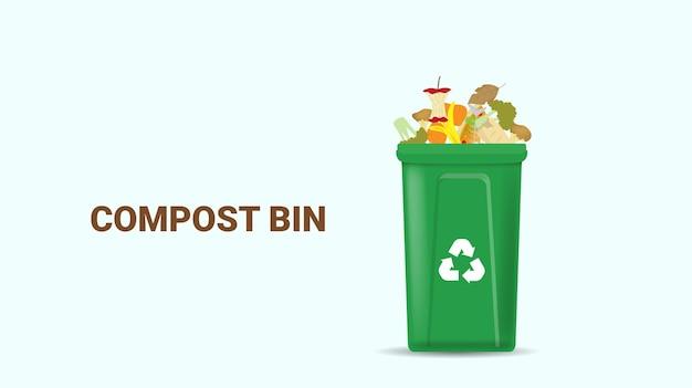 Conceito de ciclo de compostagem recipiente de compostagem com ilustração de resíduos orgânicos Vetor Premium