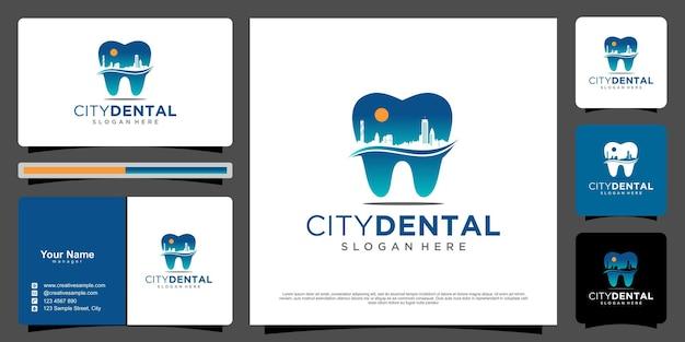 Conceito de cidade de logo dental com vetor premium de cartão de negócios