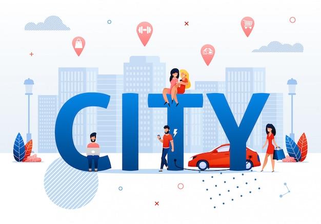 Conceito de cidade inteligente cartoon pessoas no espaço público
