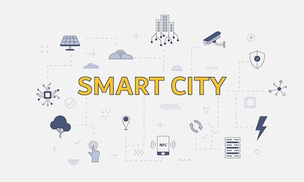 Conceito de cidade inteligente com conjunto de ícones com palavra ou texto grande na ilustração vetorial central