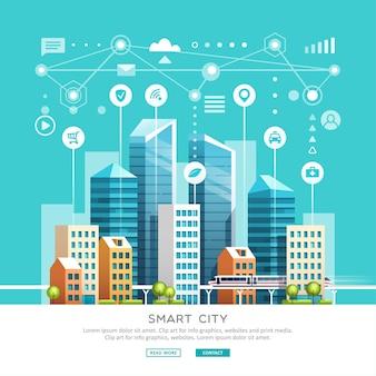 Conceito de cidade inteligente com diferentes ícones e elementos.