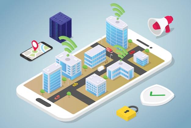 Conceito de cidade inteligente com grandes edifícios e veículo de pessoas de equipe conectado usando a tecnologia de internet wi-fi com estilo isométrico plano moderno