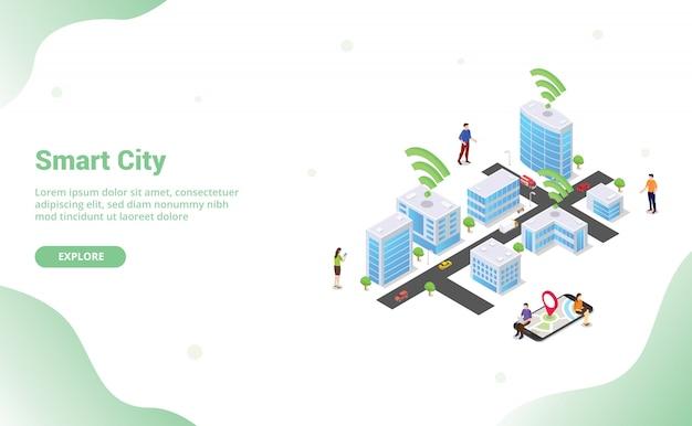 Conceito de cidade inteligente com grandes edifícios e veículo de pessoas de equipe conectado usando a tecnologia wi-fi de internet para o site modelo landing page com estilo isométrica plana moderna