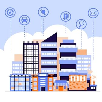 Conceito de cidade inteligente com sinais de negócios de aplicativos móveis ilustração plana.