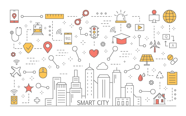 Conceito de cidade inteligente. idéia de tecnologia moderna. infraestrutura otimizada e estilo de vida futurista. conexão digital entre dispositivos. ilustração