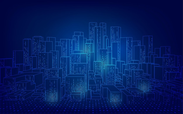 Conceito de cidade inteligente ou digital, paisagem urbana em wireframe em estilo futurista
