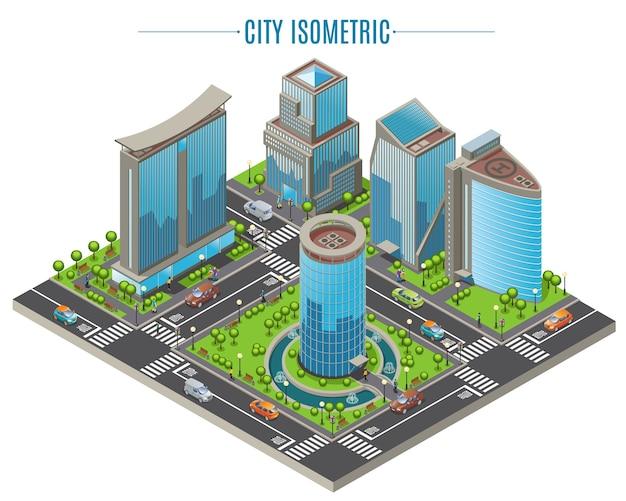 Conceito de cidade isométrica de negócios