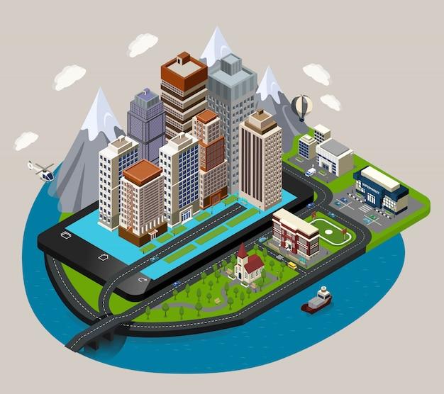 Conceito de cidade móvel isométrica