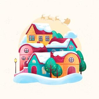 Conceito de cidade natal em aquarela