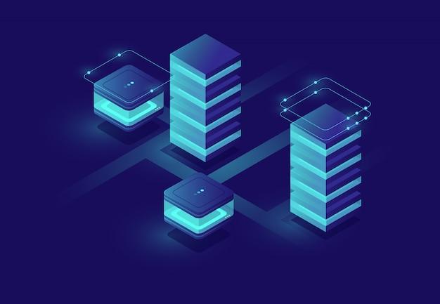 Conceito de cidade urbana inteligente com sala de servidor e ícones de banco de dados, data center e banco de dados