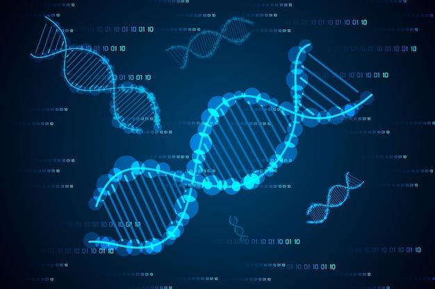 Conceito de ciência abstrata dna oi tech em fundo binário