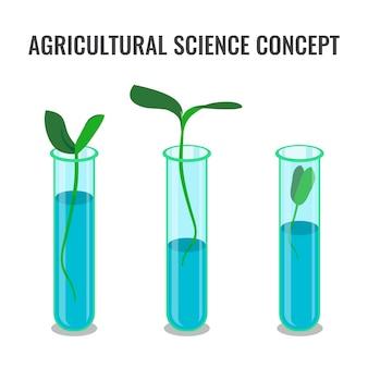 Conceito de ciência agrícola mostrando broto em tubo de vidro