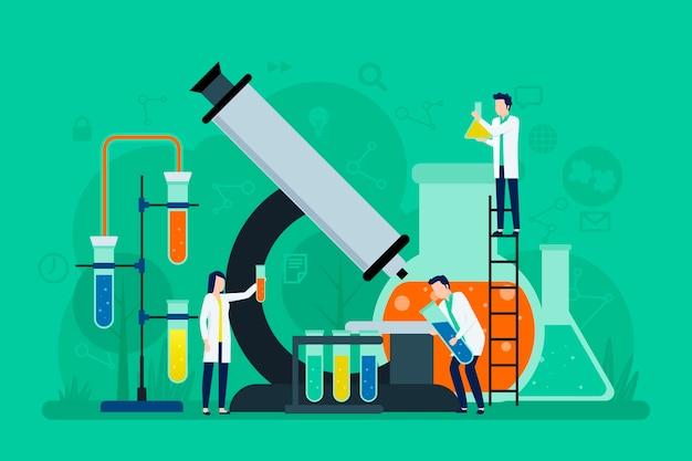 Conceito de ciência com grande microscópio