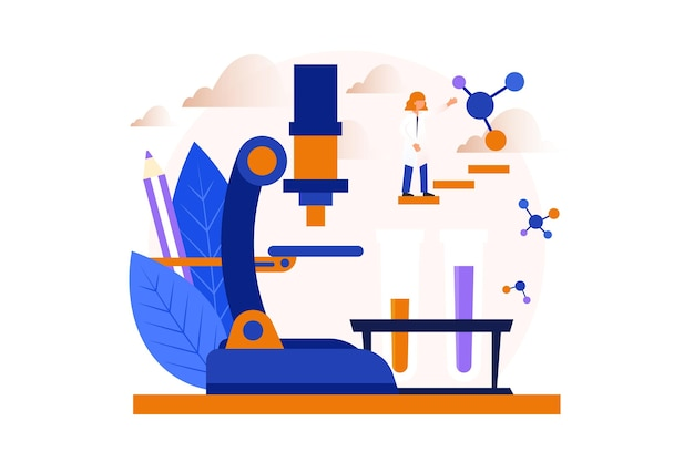 Conceito de ciência com ilustração de microscópio