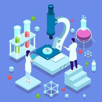 Conceito de ciência com microscópio e cientistas