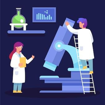Conceito de ciência com microscópio ilustrado