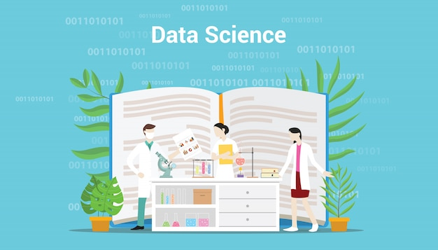 Conceito de ciência de dados com equipe de laboratório