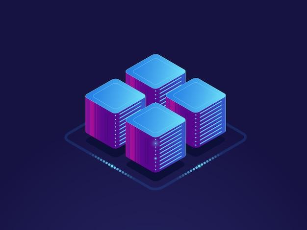 Conceito de ciência de dados, processamento digital de informações, sala de servidores, armazenamento em nuvem
