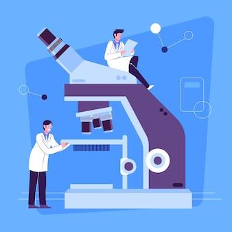 Conceito de ciência design plano com microscópio