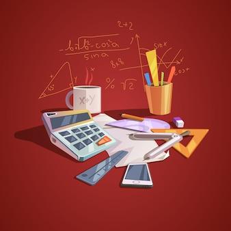 Conceito de ciência matemática com itens de lição de escola em estilo retro dos desenhos animados