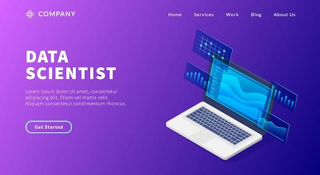 Conceito de cientista de dados com laptop e algum gráfico e gráfico para analisar o modelo de site ou a página inicial de destino