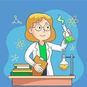 Conceito de cientista feminino para ilustração