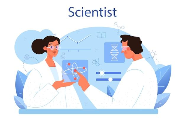 Conceito de cientista. ideia de educação e inovação. biologia, quimica