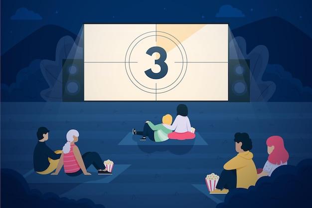 Conceito de cinema ao ar livre