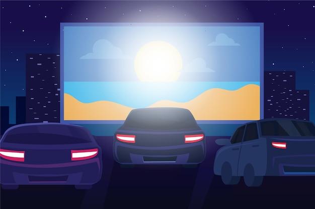 Conceito de cinema drive-in