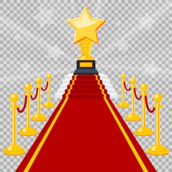 Conceito de cinema e filme com prêmio de tapete vermelho de ícones lisos, isolado em fundo transparente