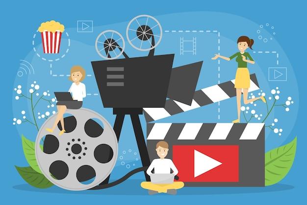 Conceito de cinema online. diversão em casa com pipoca