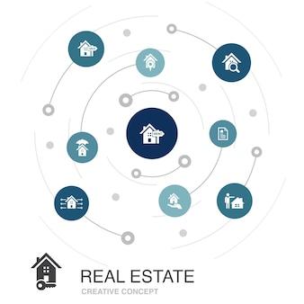 Conceito de círculo colorido de bens imobiliários com ícones simples. contém elementos como propriedade, corretor de imóveis, localização, propriedade à venda