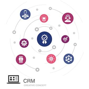 Conceito de círculo colorido de crm com ícones simples. contém elementos como cliente, gestão, relacionamento, serviço