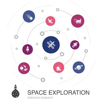 Conceito de círculo colorido de exploração do espaço com ícones simples. contém elementos como foguete, nave espacial, astronauta, planeta