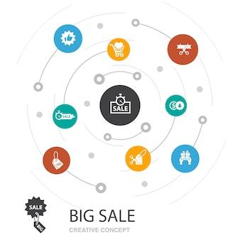 Conceito de círculo colorido de grande venda com ícones simples. contém elementos como desconto, compras, oferta especial, melhor escolha