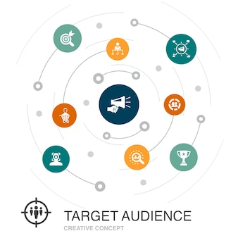 Conceito de círculo colorido de público-alvo com ícones simples. contém elementos como consumidor, demografia, nicho, promoção