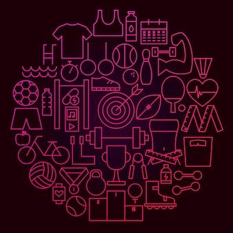 Conceito de círculo de ícone de linha de esporte. ilustração em vetor de objetos de fitness e estilo de vida saudável.