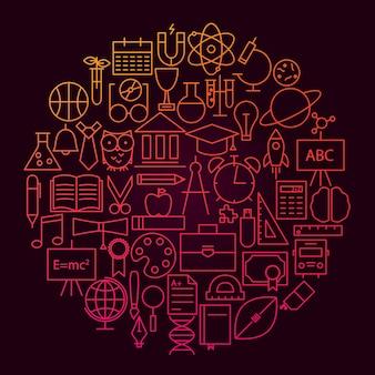Conceito de círculo de ícone de linha escolar. ilustração em vetor de objetos de educação e ciência.
